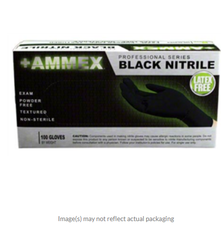 AMMEX Nitrile Exam Glove, Black,4ml Small  Professional series  BOX OF 100