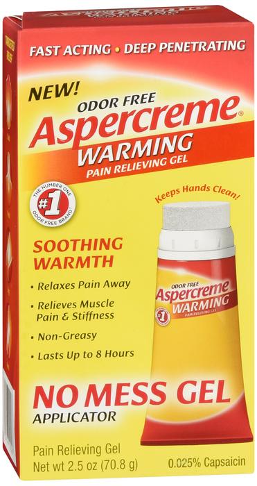 Free Shipping-Aspercreme WARMING NO-MESS GEL 2.5OZ Case of 24