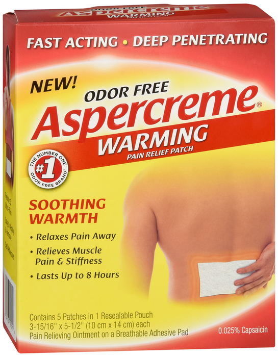 Free Shipping-Aspercreme WARMING PATCH 5 CT Case of 24
