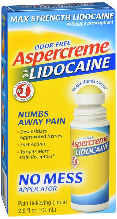 Free Shipping-Aspercreme LIDOCAINE NO MESS R/O 2.5OZ Case of 24