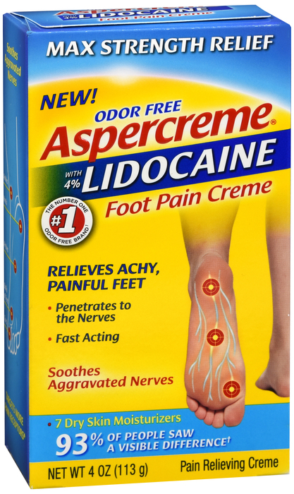 Free Shipping-Aspercreme with Lidocaine Foot Pain Cream 4oz by Chattem Case/24