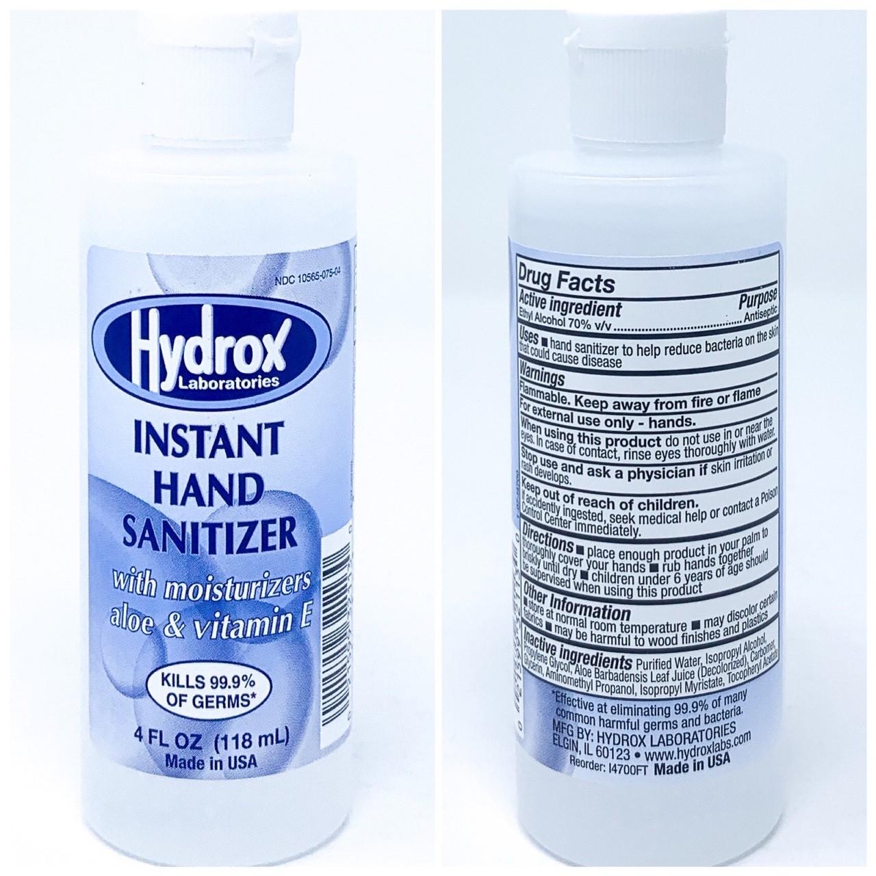 HAND SANITIZER-HYDROX Hand Sanitizer, Gel, 4 oz, 70% Ethyl Alcohol, Unscented