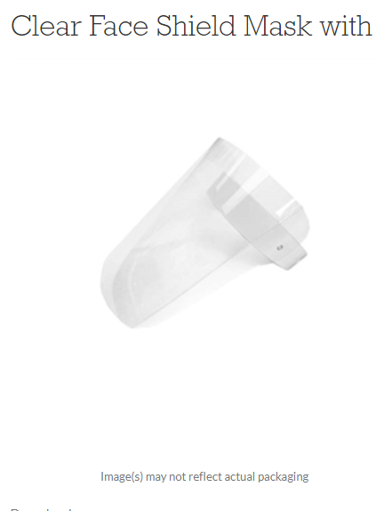 Free Shipping-Clear Face Shield Mask with White Band one each