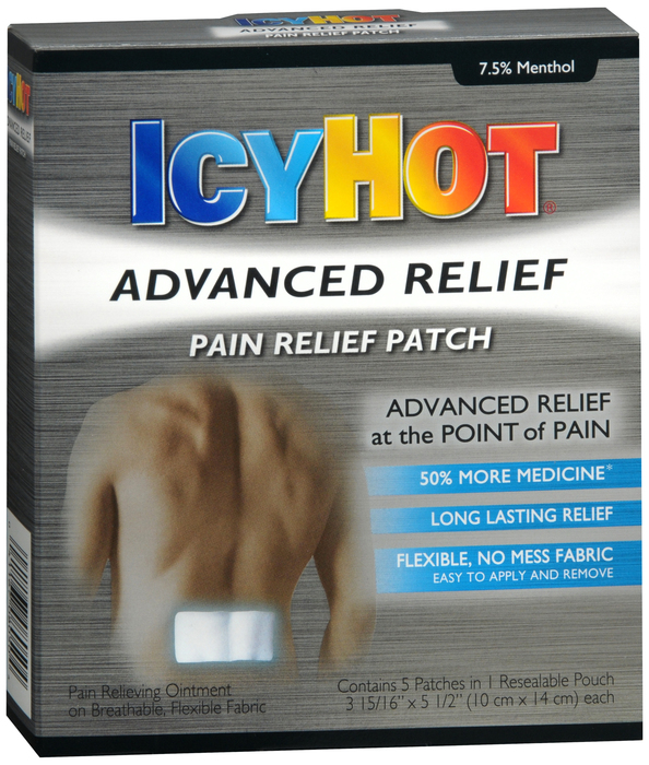 Case of 36- Icy Hot ADVANCED PAIN RELIEF PATCH 5CT  BY CHATTEM DRUG & CHEM CO