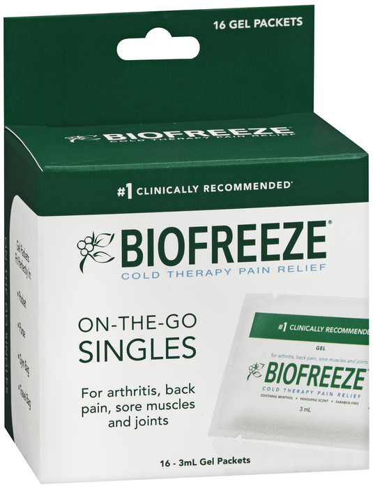Case of 24-Biofreeze ON-THE-GO GEL PACKS 16X3 ML by HYGENIC CORPORATION