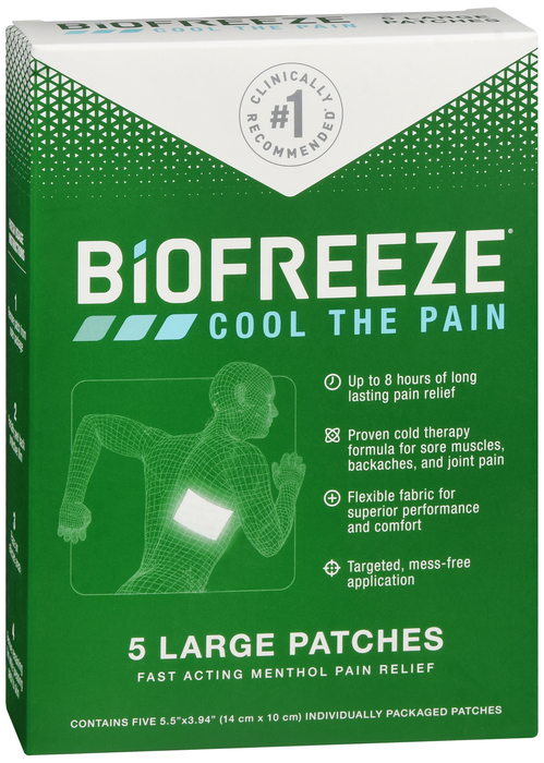 Case of 24-Biofreeze Patch 5 Count by HYGENIC CORPORATION