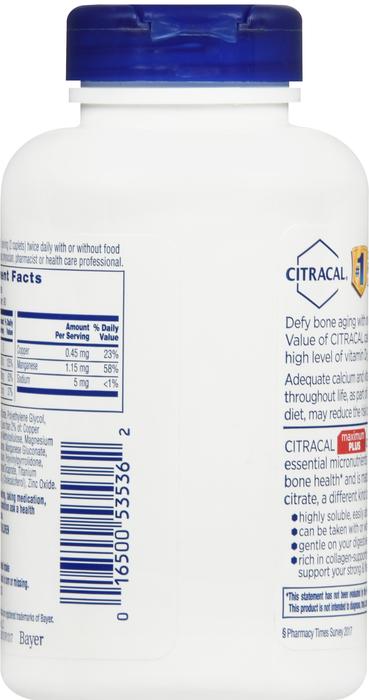 CITRACAL MAXIMUM D3 CAPLET 180CT 315MG-6.25 BY BAYER CORP/CONS HEALTH Health Item No.:633368 NDC No.: 16500053536 UPC No.: 016500535362