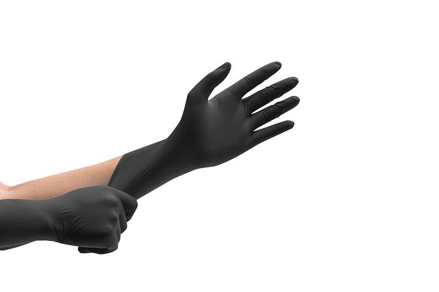 Case of 10 Boxes-First Glove Nitrile Exam EX-Large  Powder Free Black Gloves 100