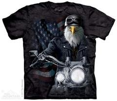 Printed American Eagle Riding a Motorcycle T-Shirts, Biker Gift, Made in USA