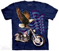 Blue Printed Eagle, Motorcycle, American Flag T-Shirts, Biker Gift, Made in USA