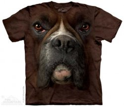 Printed Dark Brown Boxer Big Face T-Shirts, Dog Lover Gift, Made in USA