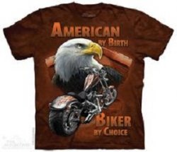 Printed American By Birth, Biker By Choice T-Shirts, Biker Gift, Made in USA