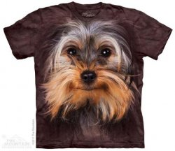 Printed Dark Brown Yorkshire Terrier T-Shirts, Dog Lover Gift, Made in USA