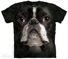 Printed Black Boston Terrier Big Face T-Shirts, Dog Lover Gift, Made in USA