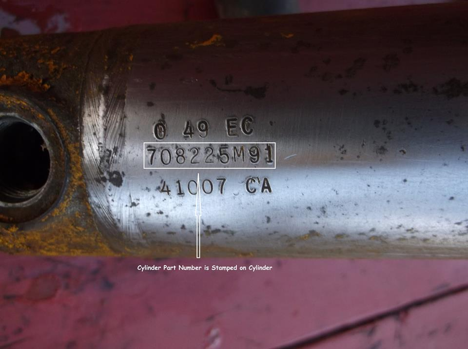 This is a photo of a Massey Ferguson Loader Cylinder. You can see where the Cylinder Part Number is actually stamped onto the cylinder itself. Also note that the part number will end with an M91