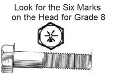 1/4 DIAMETER X 1/2 LONG Grade 8 Zinc Plated COARSE BOLTS