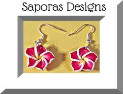 Hawaiian Design Flower Dangle Earrings Pink Yellow & White