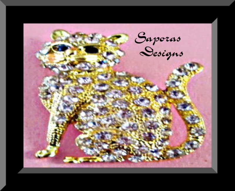 Gold In Color Cat  / Kitten Design Brooch With Pink & Black Crystals!
