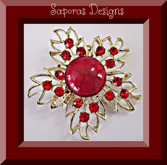 Image 0 of Gold Tone Flower Design Brooch With Red Bead & Red Crystals