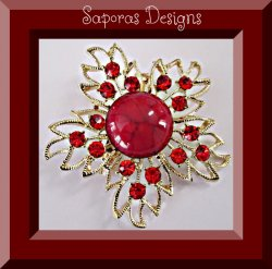 Gold Tone Flower Design Brooch With Red Bead & Red Crystals
