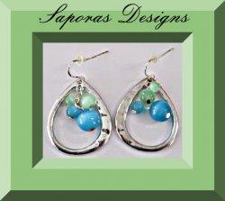 Silver Tone Tear Drop Design Earrings With Blue & Green Beads