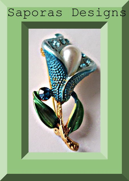 Image 0 of Colorful Flower Design Brooch With Blue Crystals & White Faux Pearl