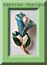 Colorful Flower Design Brooch With Blue Crystals & White Faux Pearl