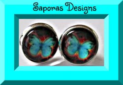 Silver Tone Turquoise Butterfly Stud Earrings