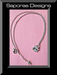 Hello Kitty Design Necklace Silver Tone With Clear Black & Pink Crystals