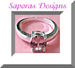 925 Sterling Silver Ring Size 7.5 With Pink Crystal