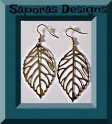 Gold Tone Dangle Leaf Design Earrings