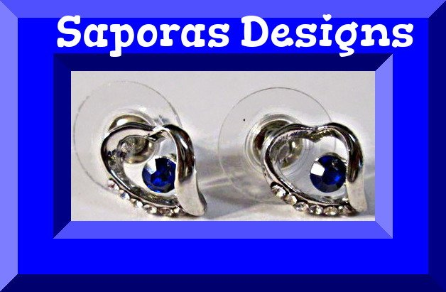 Image 0 of 18KRP Heart Design Stud Earrings With Blue & Clear Crystals