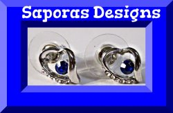 18KRP Heart Design Stud Earrings With Blue & Clear Crystals