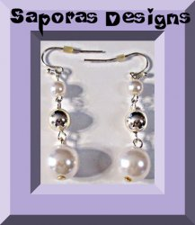 Silver Tone Dangle Earrings With Silver Tone Beads & White Beads