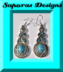 Tibetan Silver & Turquoise Dangle Earrings With Blue Crystals Native Ethnic