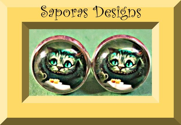 Image 0 of Cheshire The Cat Alice In Wonderland Design Stud Earrings