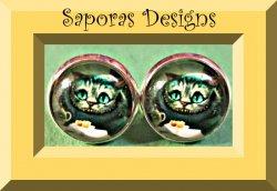 Cheshire The Cat Alice In Wonderland Design Stud Earrings
