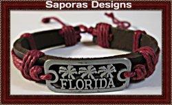 Handmade Leather Florida Design Bracelet Unisex