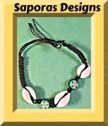 Handmade Black Braided Anklet With Real Sea Shells & Flower Beads Hawaii Style