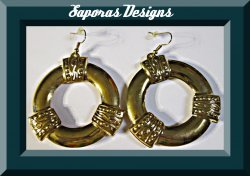 Gold Tone Dangle Egyptian Design Earrings