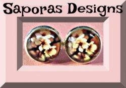 Silver Tone Pink Flower Design Stud Earrings