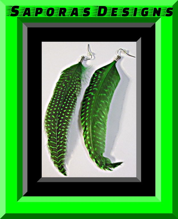 Image 0 of Black & Green Dangle Feather Earrings Native Ethnic Tribal Bohemian Design
