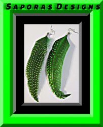 Black & Green Dangle Feather Earrings Native Ethnic Tribal Bohemian Design