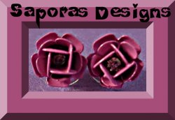 Pink Flower Floral Design Stud Earrings With Clear Crystal