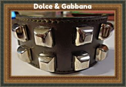 Dolce & Gabbana Brown Leather Bracelet With Silver Tone Studs For Him
