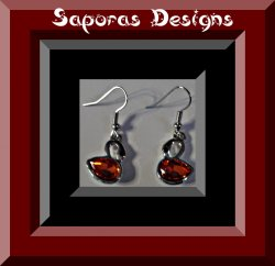 Silver Tone Dangle Swan Design Earrings With Red & Black Crystals