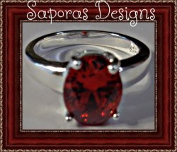 925 Sterling Silver Ring Size 7.5 With Red Crystal