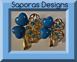 Gold Tone Four Leaf Clover Design Brooch With Blue Beads & Blue Crystals