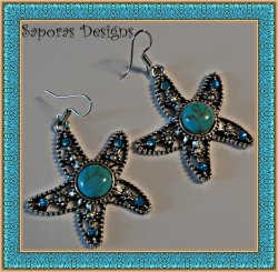 Tibetan Silver & Turquoise Dangle Starfish Design Earrings With Blue Crystals