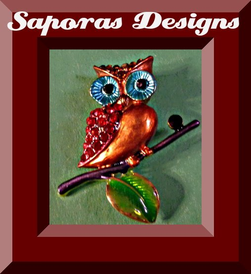 Image 0 of Colorful Owl Design Brooch With Colorful Rhinestones
